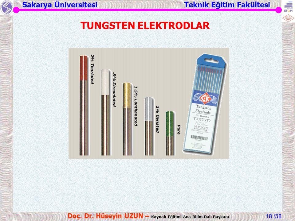 Sakarya Üniversitesi Teknik Eğitim Fakültesi /38 Doç. Dr. Hüseyin UZUN – Kaynak Eğitimi Ana Bilim Dalı Başkanı 18 TUNGSTEN ELEKTRODLAR