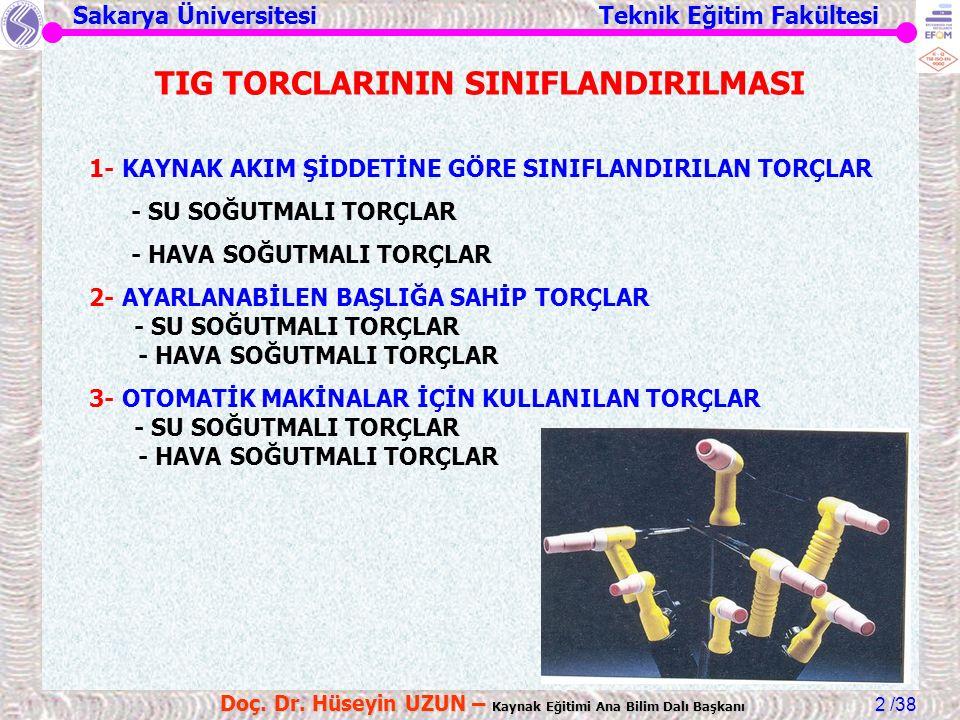 Sakarya Üniversitesi Teknik Eğitim Fakültesi /38 Doç. Dr. Hüseyin UZUN – Kaynak Eğitimi Ana Bilim Dalı Başkanı 2 TIG TORCLARININ SINIFLANDIRILMASI 1-