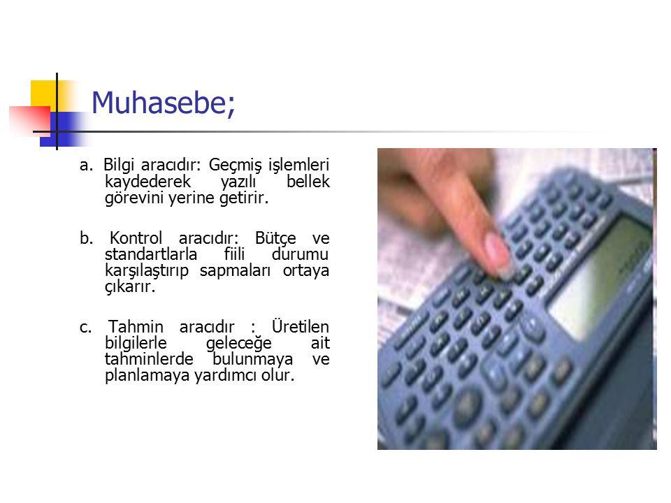 Muhasebe; a. Bilgi aracıdır: Geçmiş işlemleri kaydederek yazılı bellek görevini yerine getirir.