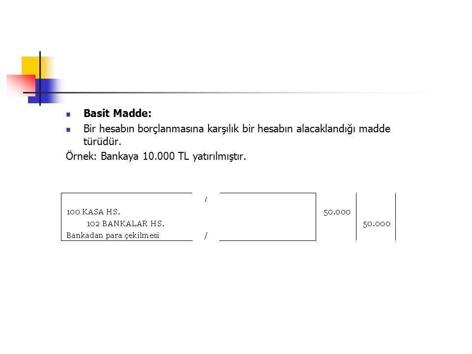 Basit Madde: Bir hesabın borçlanmasına karşılık bir hesabın alacaklandığı madde türüdür.