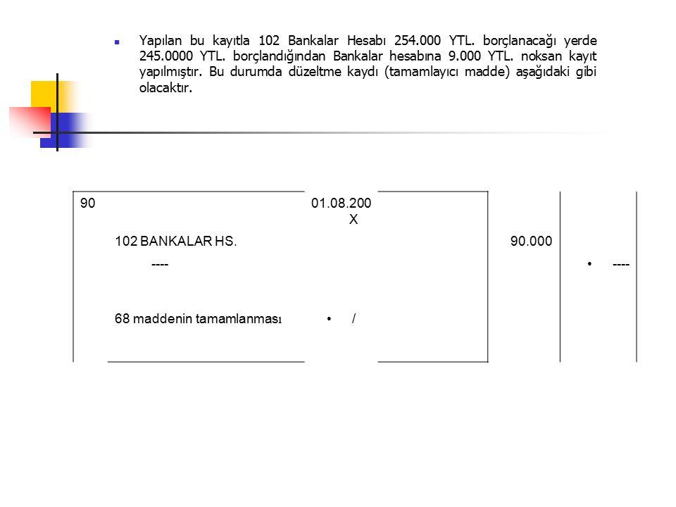 Yapılan bu kayıtla 102 Bankalar Hesabı 254.000 YTL.