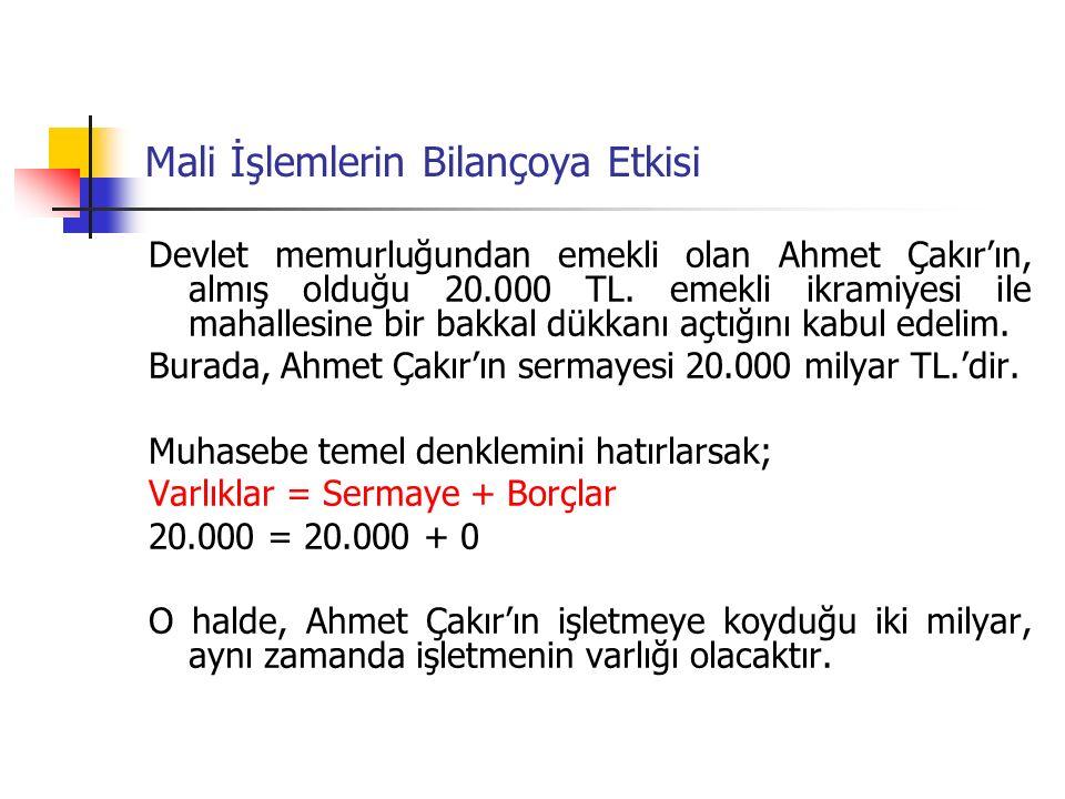 Mali İşlemlerin Bilançoya Etkisi Devlet memurluğundan emekli olan Ahmet Çakır'ın, almış olduğu 20.000 TL.