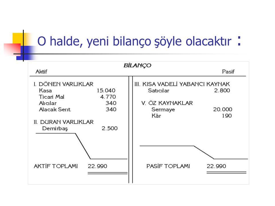 O halde, yeni bilanço şöyle olacaktır :