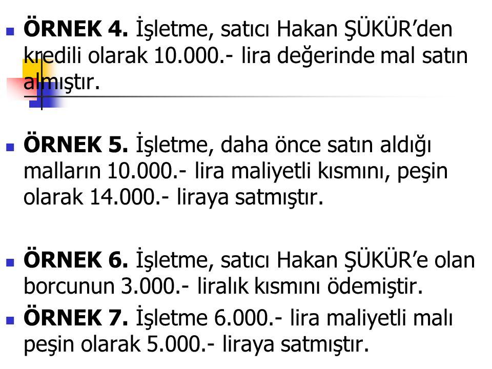 ÖRNEK 4. İşletme, satıcı Hakan ŞÜKÜR'den kredili olarak 10.000.- lira değerinde mal satın almıştır.