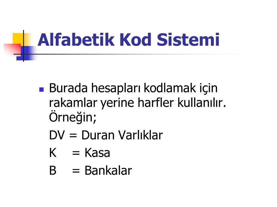 Alfabetik Kod Sistemi Burada hesapları kodlamak için rakamlar yerine harfler kullanılır.