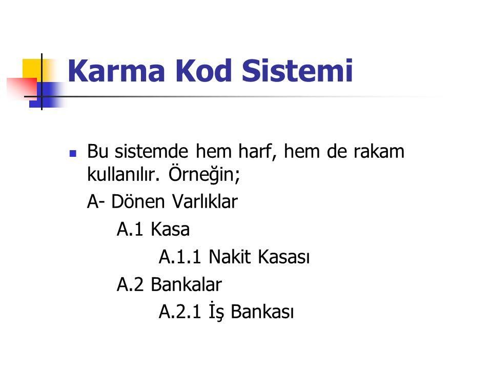 Karma Kod Sistemi Bu sistemde hem harf, hem de rakam kullanılır.
