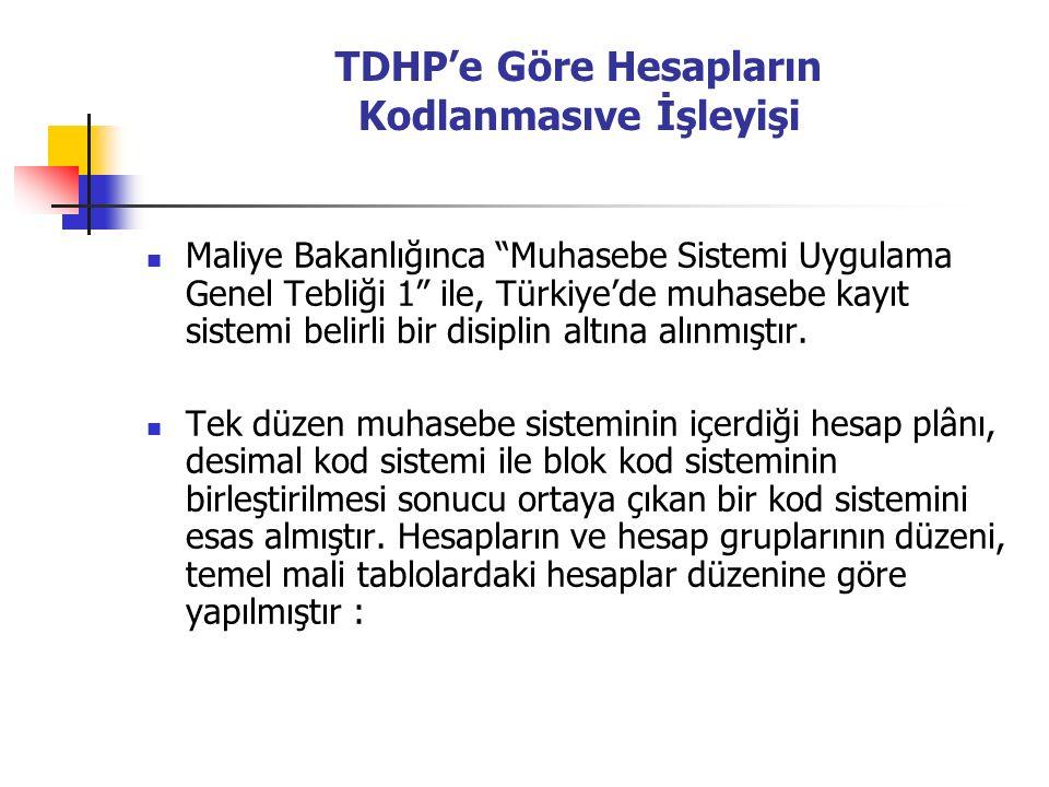 TDHP'e Göre Hesapların Kodlanmasıve İşleyişi Maliye Bakanlığınca Muhasebe Sistemi Uygulama Genel Tebliği 1 ile, Türkiye'de muhasebe kayıt sistemi belirli bir disiplin altına alınmıştır.