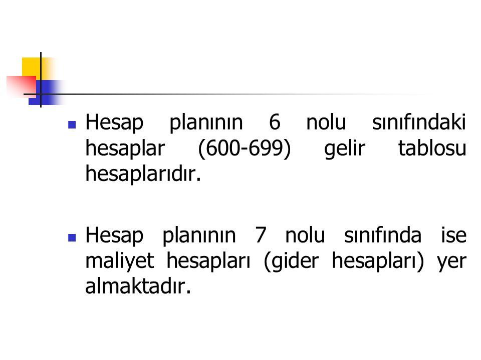 Hesap planının 6 nolu sınıfındaki hesaplar (600-699) gelir tablosu hesaplarıdır.