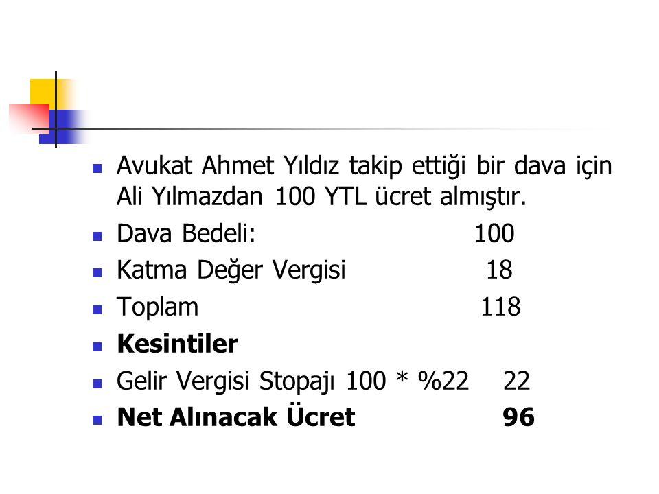 Avukat Ahmet Yıldız takip ettiği bir dava için Ali Yılmazdan 100 YTL ücret almıştır.