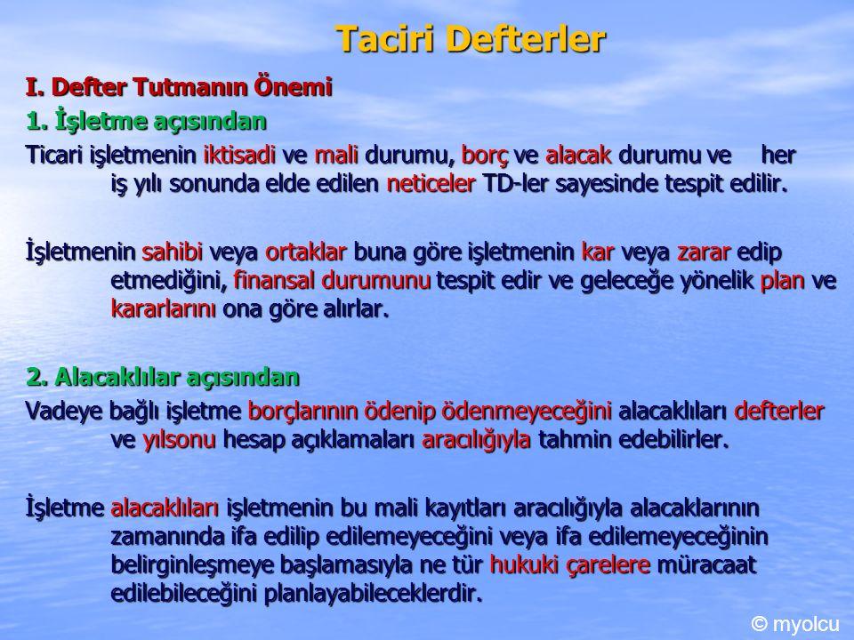 Taciri Defterler I. Defter Tutmanın Önemi 1.