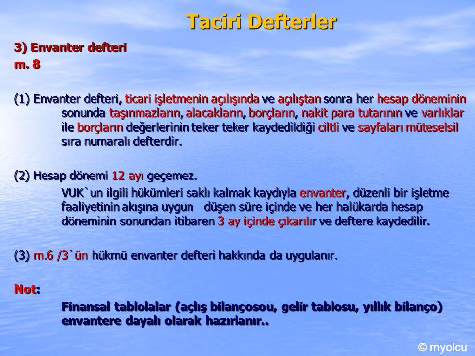 Taciri Defterler 3) Envanter defteri m.8 m.