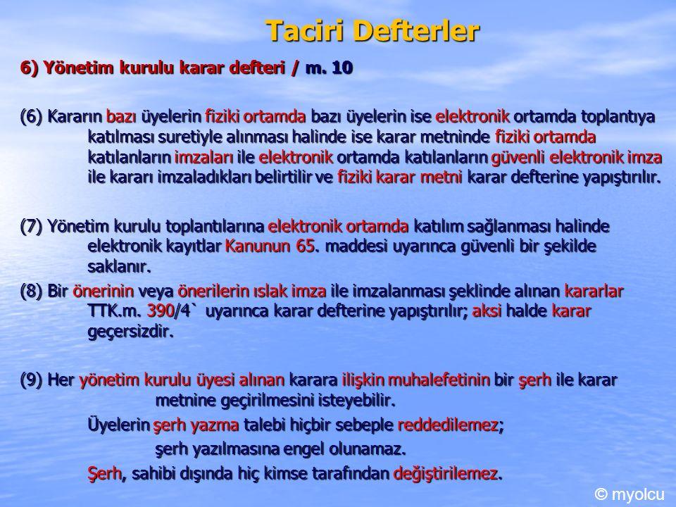 Taciri Defterler 6) Yönetim kurulu karar defteri / m.