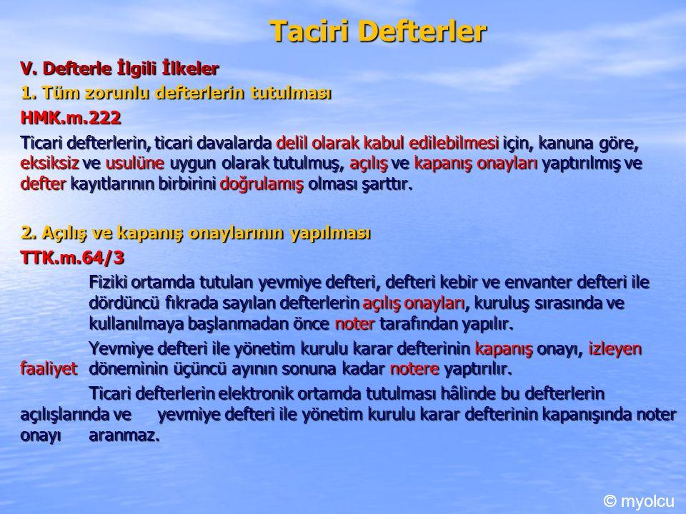 Taciri Defterler V.Defterle İlgili İlkeler 1.