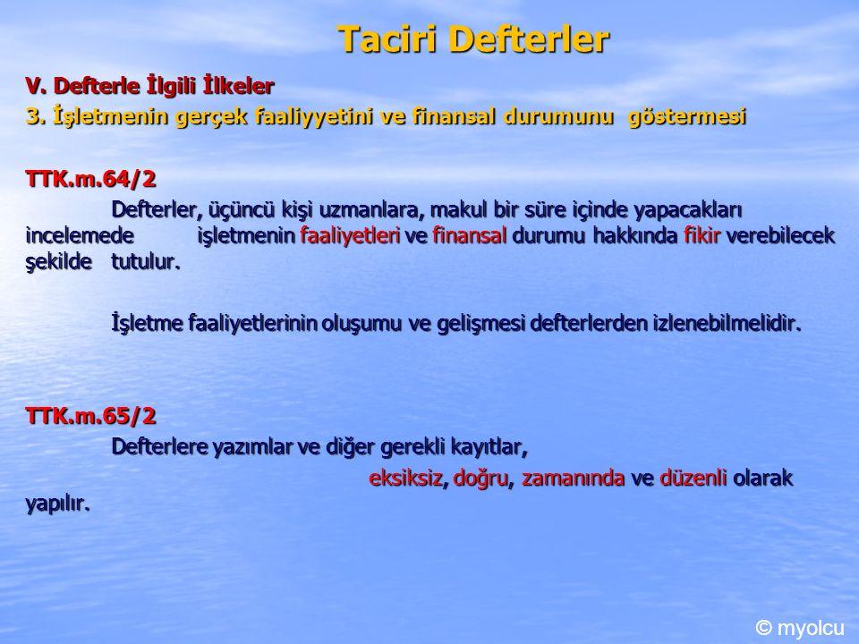 Taciri Defterler V.Defterle İlgili İlkeler 3.