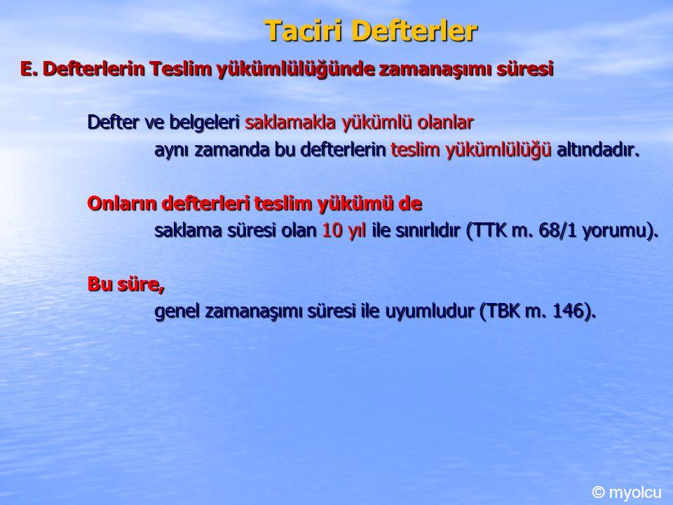 Taciri Defterler E.