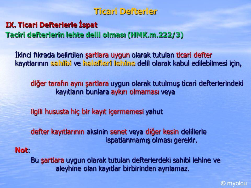 Ticari Defterler IX.