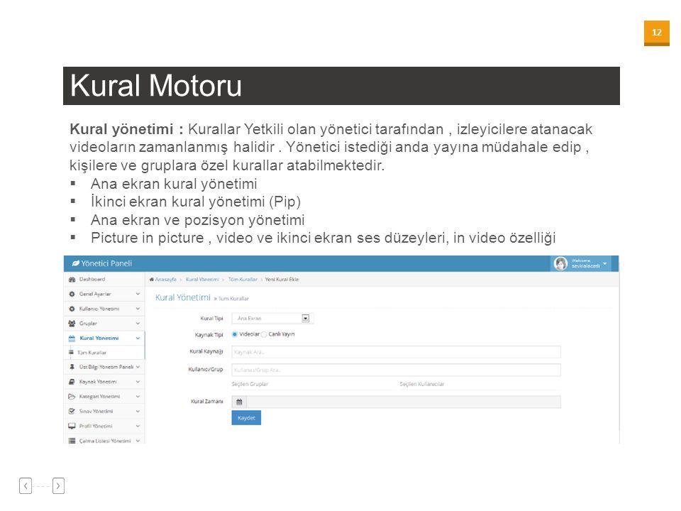 12 Kural Motoru Kural yönetimi : Kurallar Yetkili olan yönetici tarafından, izleyicilere atanacak videoların zamanlanmış halidir.