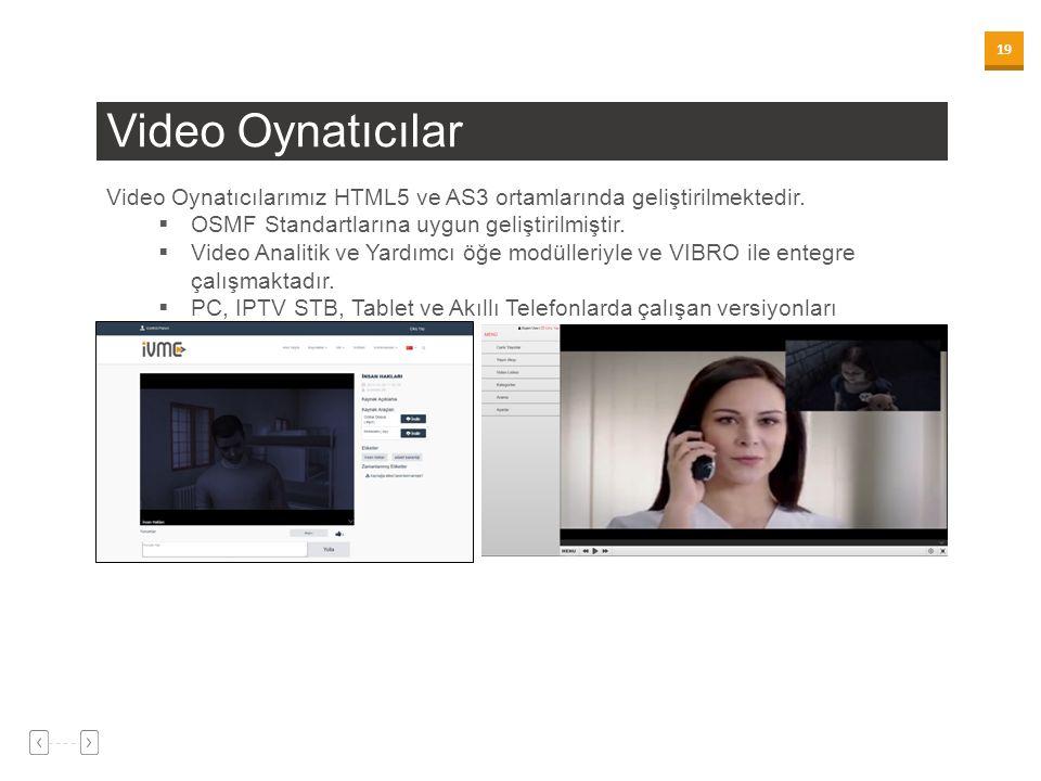19 Video Oynatıcılar Video Oynatıcılarımız HTML5 ve AS3 ortamlarında geliştirilmektedir.