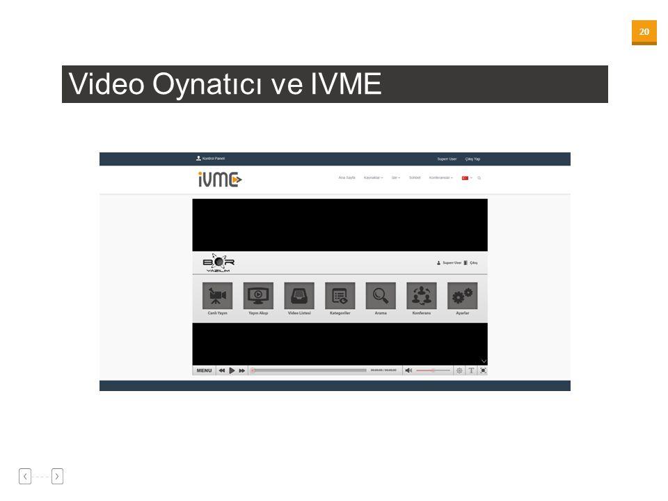 20 Video Oynatıcı ve IVME