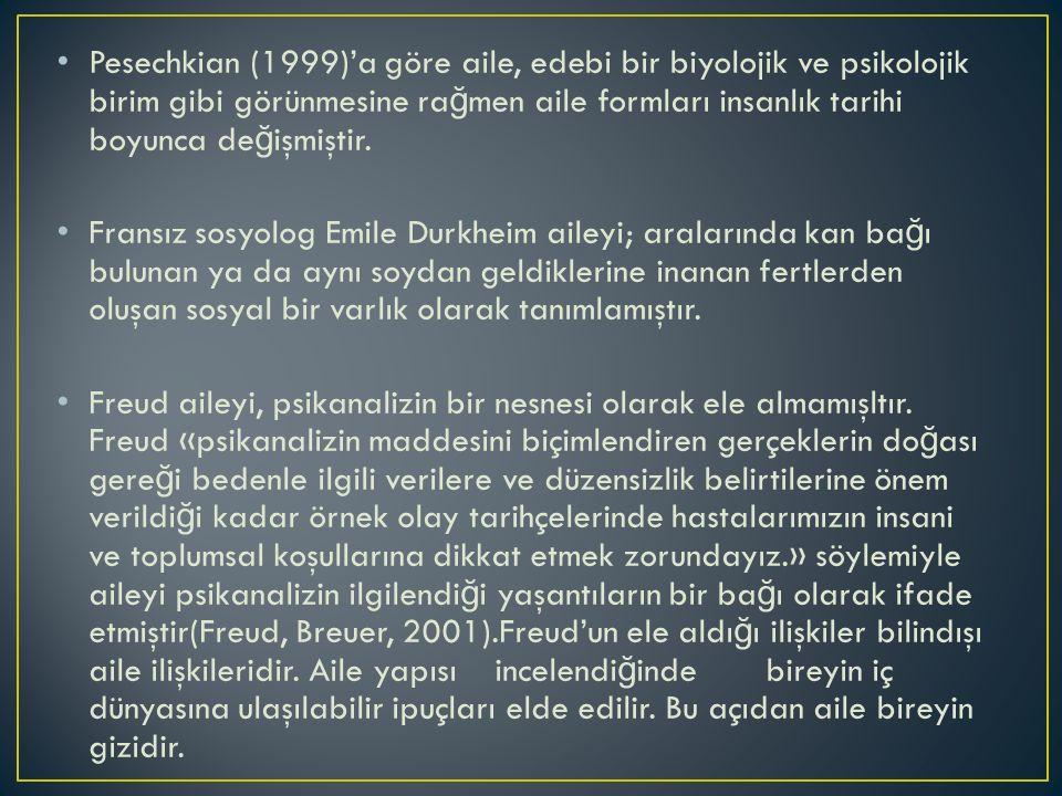 Pesechkian (1999)'a göre aile, edebi bir biyolojik ve psikolojik birim gibi görünmesine ra ğ men aile formları insanlık tarihi boyunca de ğ işmiştir.