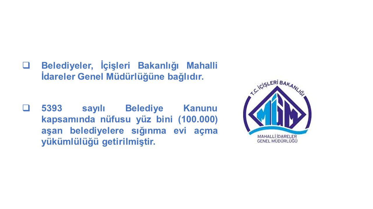 MAHALLİ İDARELER GENEL MÜDÜRLÜĞÜ  Belediyeler, İçişleri Bakanlığı Mahalli İdareler Genel Müdürlüğüne bağlıdır.