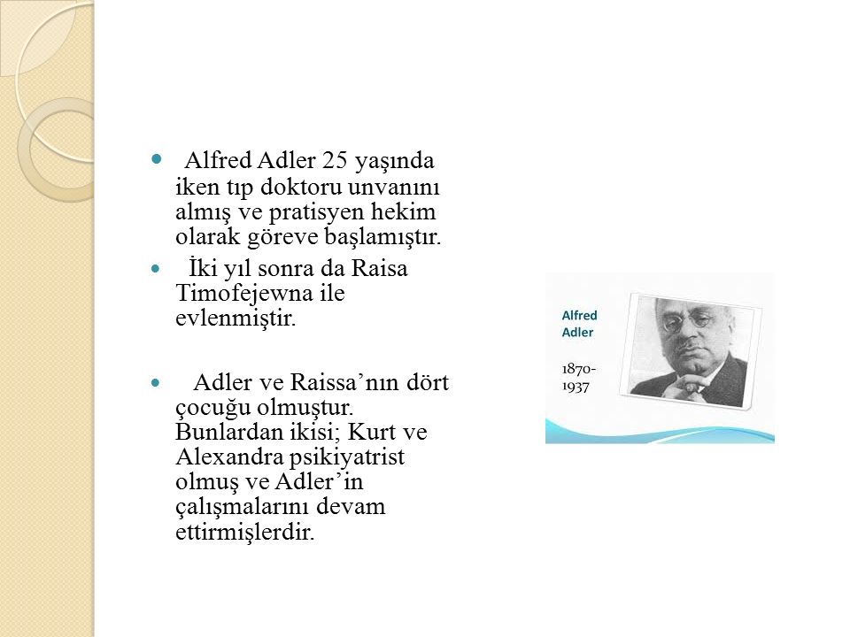 Alfred Adler 25 yaşında iken tıp doktoru unvanını almış ve pratisyen hekim olarak göreve başlamıştır. İki yıl sonra da Raisa Timofejewna ile evlenmişt