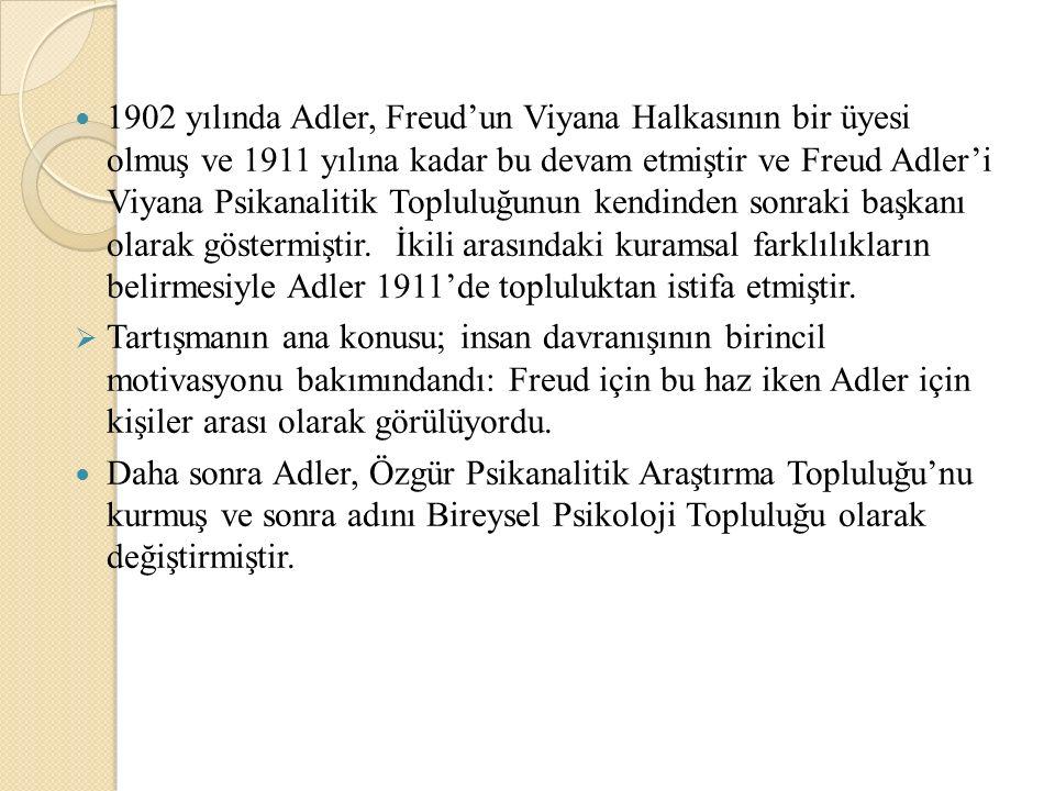 1902 yılında Adler, Freud'un Viyana Halkasının bir üyesi olmuş ve 1911 yılına kadar bu devam etmiştir ve Freud Adler'i Viyana Psikanalitik Topluluğunu