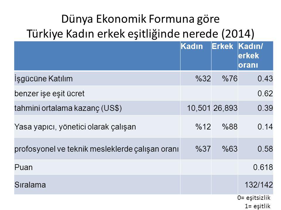 Dünya Ekonomik Formuna göre Türkiye Kadın erkek eşitliğinde nerede (2014) KadınErkekKadın/ erkek oranı İşgücüne Katılım%32%760.43 benzer işe eşit ücret 0.62 tahmini ortalama kazanç (US$)10,50126,8930.39 Yasa yapıcı, yönetici olarak çalışan%12%880.14 profosyonel ve teknik mesleklerde çalışan oranı%37%630.58 Puan 0.618 Sıralama 132/142 0= eşitsizlik 1= eşitlik