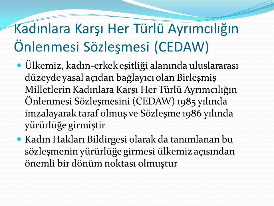 Kadınlara Karşı Her Türlü Ayrımcılığın Önlenmesi Sözleşmesi (CEDAW) Ülkemiz, kadın-erkek eşitliği alanında uluslararası düzeyde yasal açıdan bağlayıcı olan Birleşmiş Milletlerin Kadınlara Karşı Her Türlü Ayrımcılığın Önlenmesi Sözleşmesini (CEDAW) 1985 yılında imzalayarak taraf olmuş ve Sözleşme 1986 yılında yürürlüğe girmiştir Kadın Hakları Bildirgesi olarak da tanımlanan bu sözleşmenin yürürlüğe girmesi ülkemiz açısından önemli bir dönüm noktası olmuştur