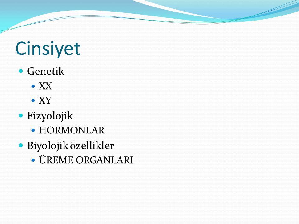 Cinsiyet Genetik XX XY Fizyolojik HORMONLAR Biyolojik özellikler ÜREME ORGANLARI