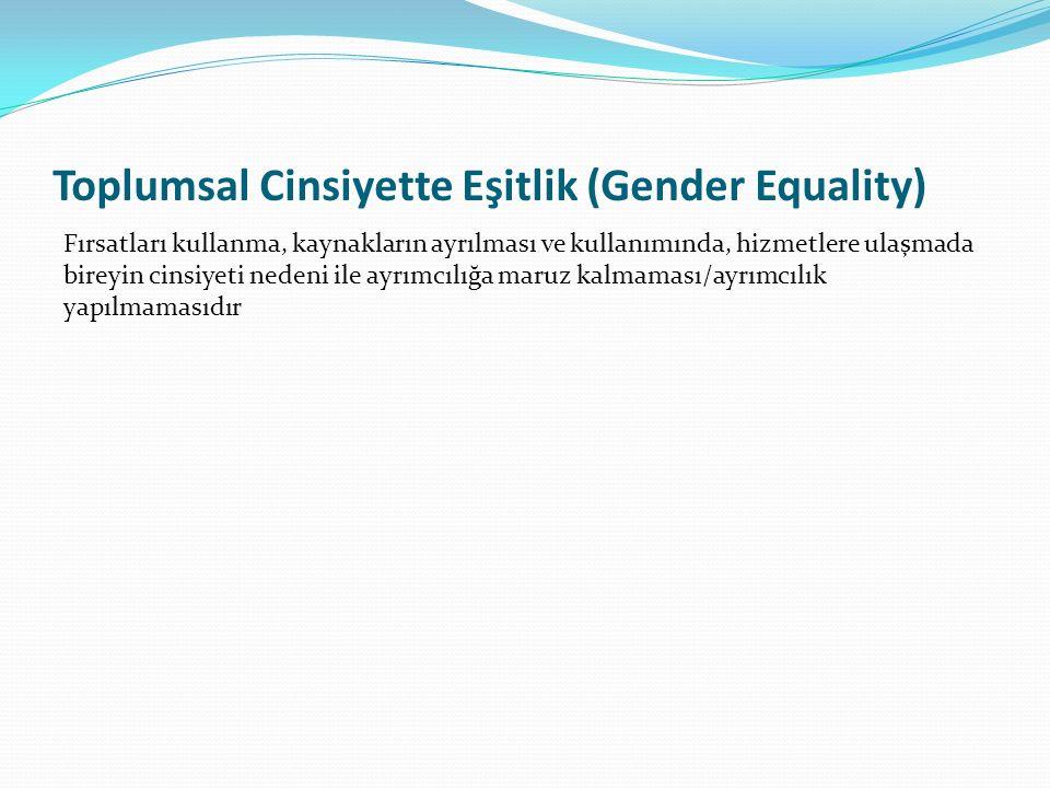 Toplumsal Cinsiyette Eşitlik (Gender Equality) Fırsatları kullanma, kaynakların ayrılması ve kullanımında, hizmetlere ulaşmada bireyin cinsiyeti nedeni ile ayrımcılığa maruz kalmaması/ayrımcılık yapılmamasıdır