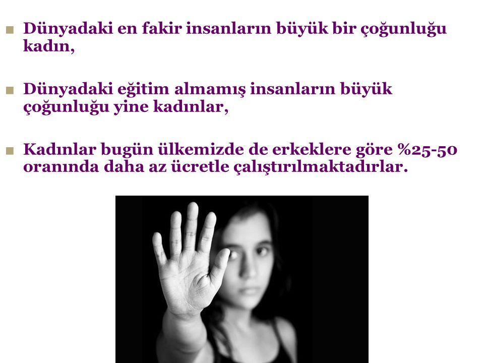 ■ Dünyadaki en fakir insanların büyük bir çoğunluğu kadın, ■ Dünyadaki eğitim almamış insanların büyük çoğunluğu yine kadınlar, ■ Kadınlar bugün ülkem