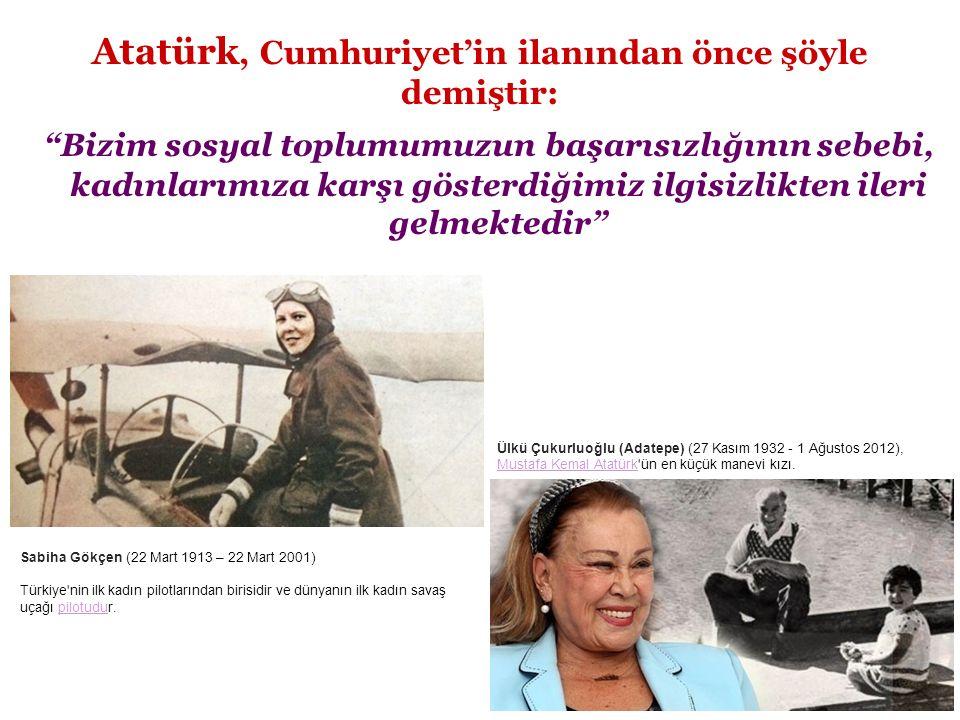 Atatürk, Cumhuriyet'in ilanından önce şöyle demiştir: Bizim sosyal toplumumuzun başarısızlığının sebebi, kadınlarımıza karşı gösterdiğimiz ilgisizlikten ileri gelmektedir Ülkü Çukurluoğlu (Adatepe) (27 Kasım 1932 - 1 Ağustos 2012), Mustafa Kemal Atatürk ün en küçük manevi kızı.