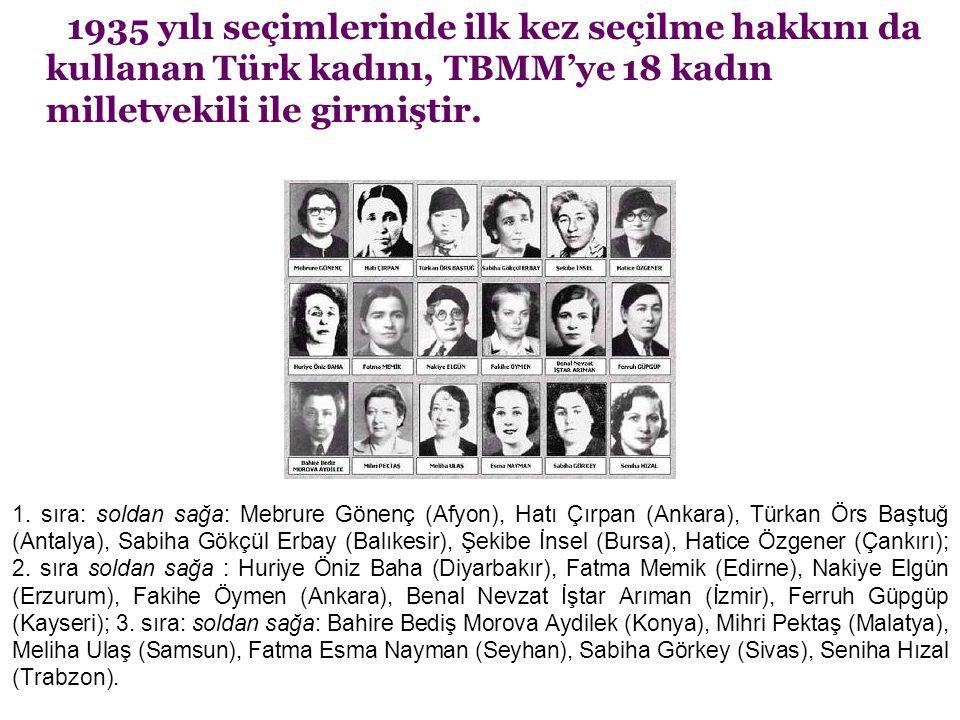 1935 yılı seçimlerinde ilk kez seçilme hakkını da kullanan Türk kadını, TBMM'ye 18 kadın milletvekili ile girmiştir. 1. sıra: soldan sağa: Mebrure Gön