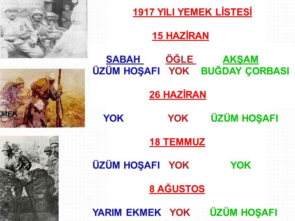 gün GÜN SABAH ÖĞLE AKŞAM 1917 YILI YEMEK LİSTESİ 15 HAZİRAN SABAH ÖĞLE AKŞAM ÜZÜM HOŞAFI YOK BUĞDAY ÇORBASI 26 HAZİRAN YOK YOK ÜZÜM HOŞAFI 18 TEMMUZ ÜZÜM HOŞAFI YOK YOK 8 AĞUSTOS YARIM EKMEK YOK ÜZÜM HOŞAFI