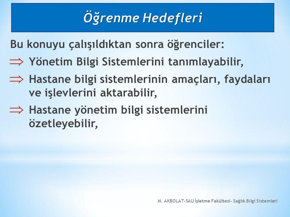 M.AKBOLAT-SAU İşletme Fakültesi- Sağlık Bilgi Sistemleri 3.