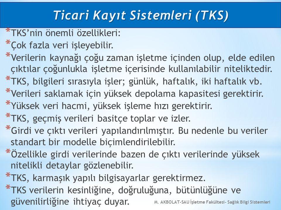M. AKBOLAT-SAU İşletme Fakültesi- Sağlık Bilgi Sistemleri * TKS'nin önemli özellikleri: * Çok fazla veri işleyebilir. * Verilerin kaynağı çoğu zaman i