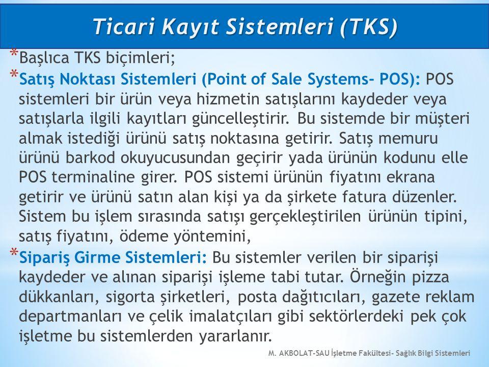 M. AKBOLAT-SAU İşletme Fakültesi- Sağlık Bilgi Sistemleri * Başlıca TKS biçimleri; * Satış Noktası Sistemleri (Point of Sale Systems- POS): POS sistem