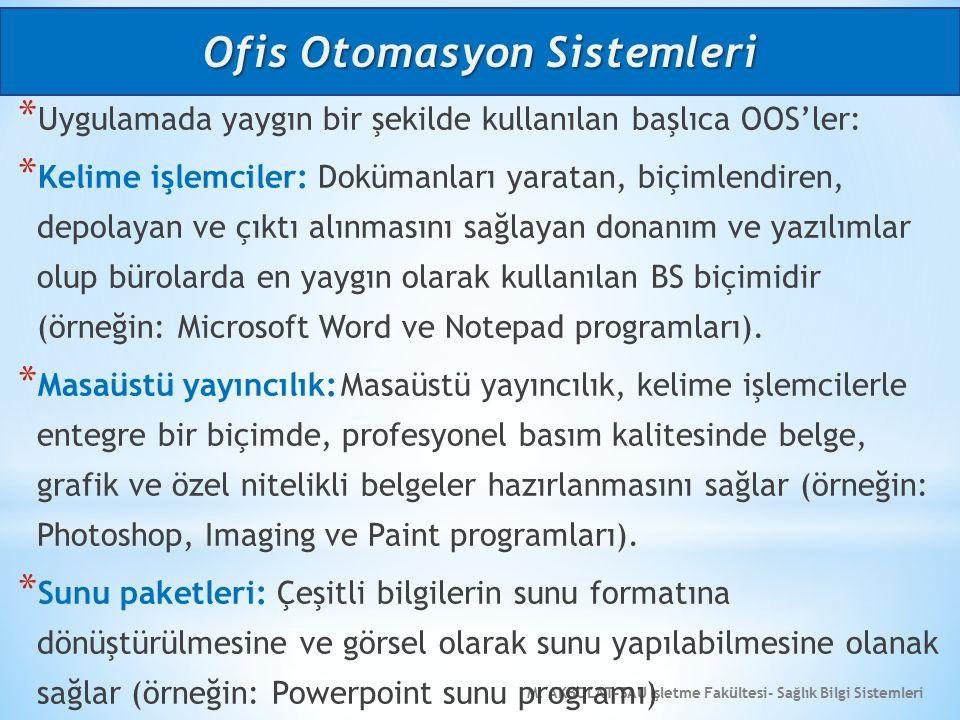 M. AKBOLAT-SAU İşletme Fakültesi- Sağlık Bilgi Sistemleri * Uygulamada yaygın bir şekilde kullanılan başlıca OOS'ler: * Kelime işlemciler: Dokümanları