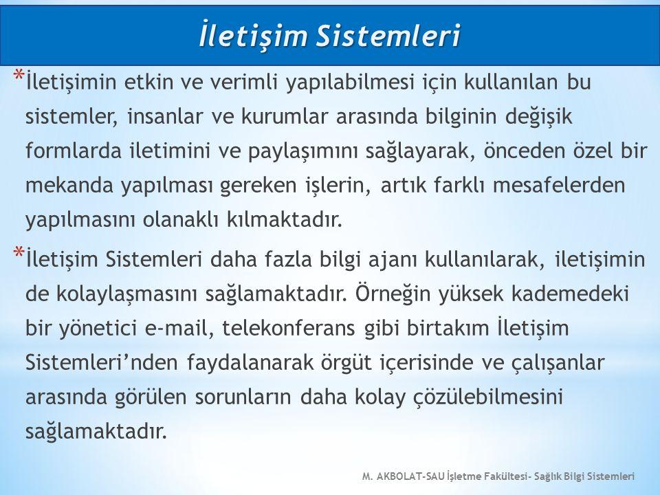M. AKBOLAT-SAU İşletme Fakültesi- Sağlık Bilgi Sistemleri * İletişimin etkin ve verimli yapılabilmesi için kullanılan bu sistemler, insanlar ve kuruml