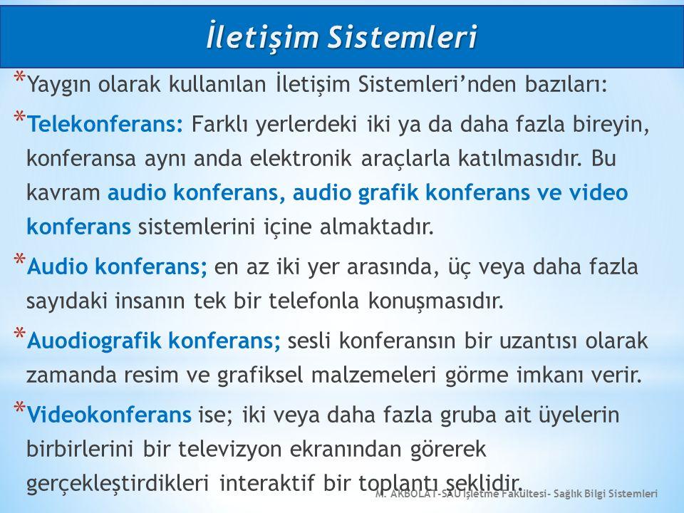 M. AKBOLAT-SAU İşletme Fakültesi- Sağlık Bilgi Sistemleri * Yaygın olarak kullanılan İletişim Sistemleri'nden bazıları: * Telekonferans: Farklı yerler