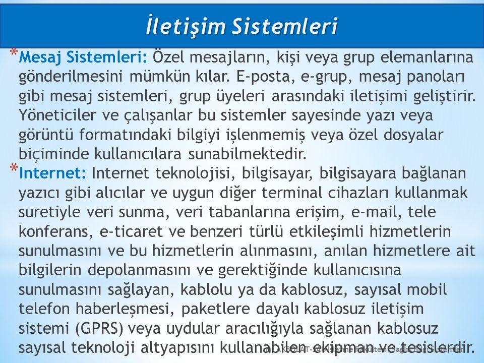 M. AKBOLAT-SAU İşletme Fakültesi- Sağlık Bilgi Sistemleri * Mesaj Sistemleri: Özel mesajların, kişi veya grup elemanlarına gönderilmesini mümkün kılar