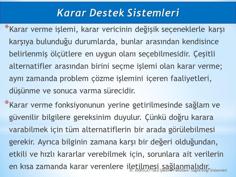 M. AKBOLAT-SAU İşletme Fakültesi- Sağlık Bilgi Sistemleri * Karar verme işlemi, karar vericinin değişik seçeneklerle karşı karşıya bulunduğu durumlard