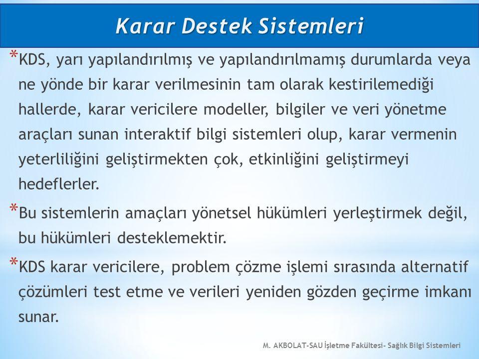 M. AKBOLAT-SAU İşletme Fakültesi- Sağlık Bilgi Sistemleri * KDS, yarı yapılandırılmış ve yapılandırılmamış durumlarda veya ne yönde bir karar verilmes