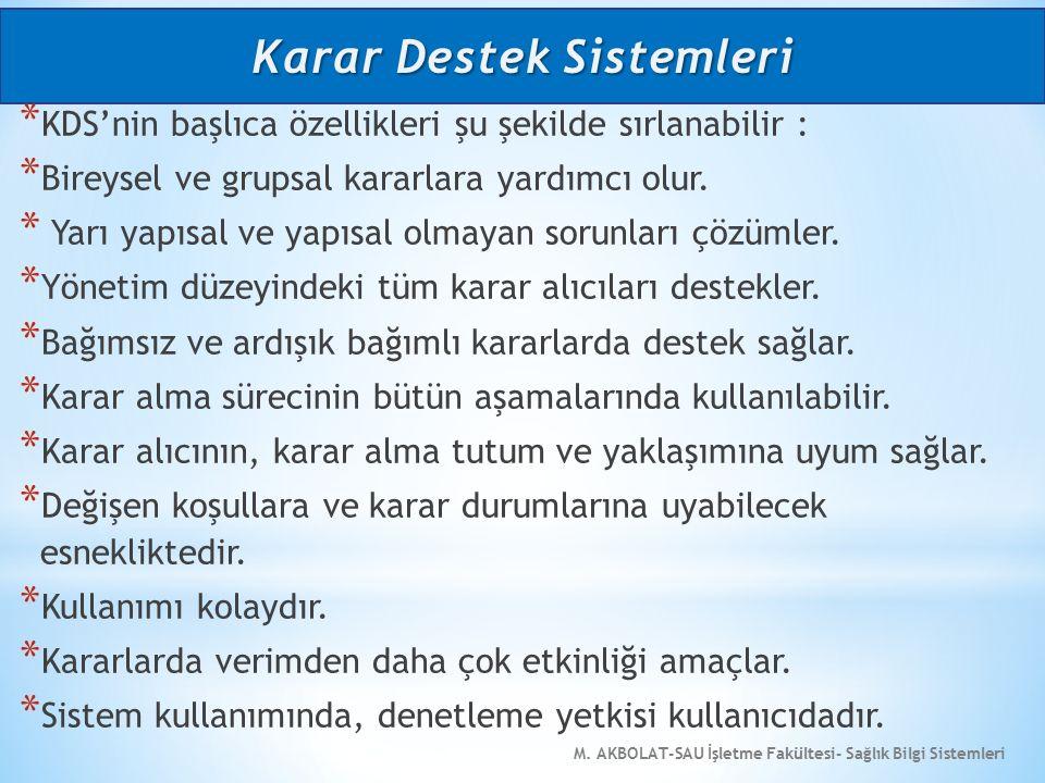 M. AKBOLAT-SAU İşletme Fakültesi- Sağlık Bilgi Sistemleri * KDS'nin başlıca özellikleri şu şekilde sırlanabilir : * Bireysel ve grupsal kararlara yard
