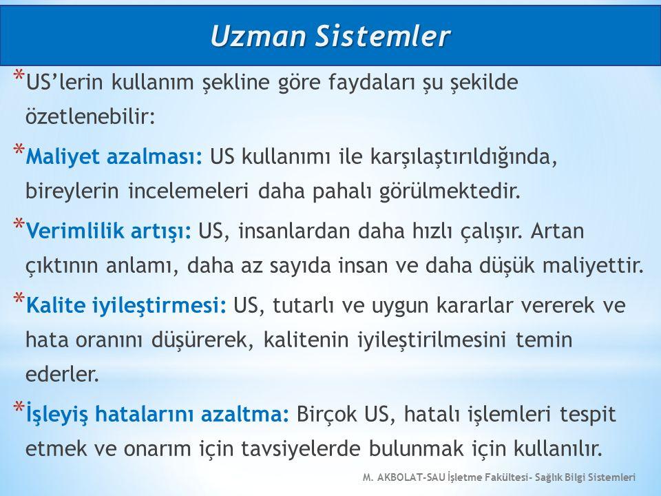 M. AKBOLAT-SAU İşletme Fakültesi- Sağlık Bilgi Sistemleri * US'lerin kullanım şekline göre faydaları şu şekilde özetlenebilir: * Maliyet azalması: US