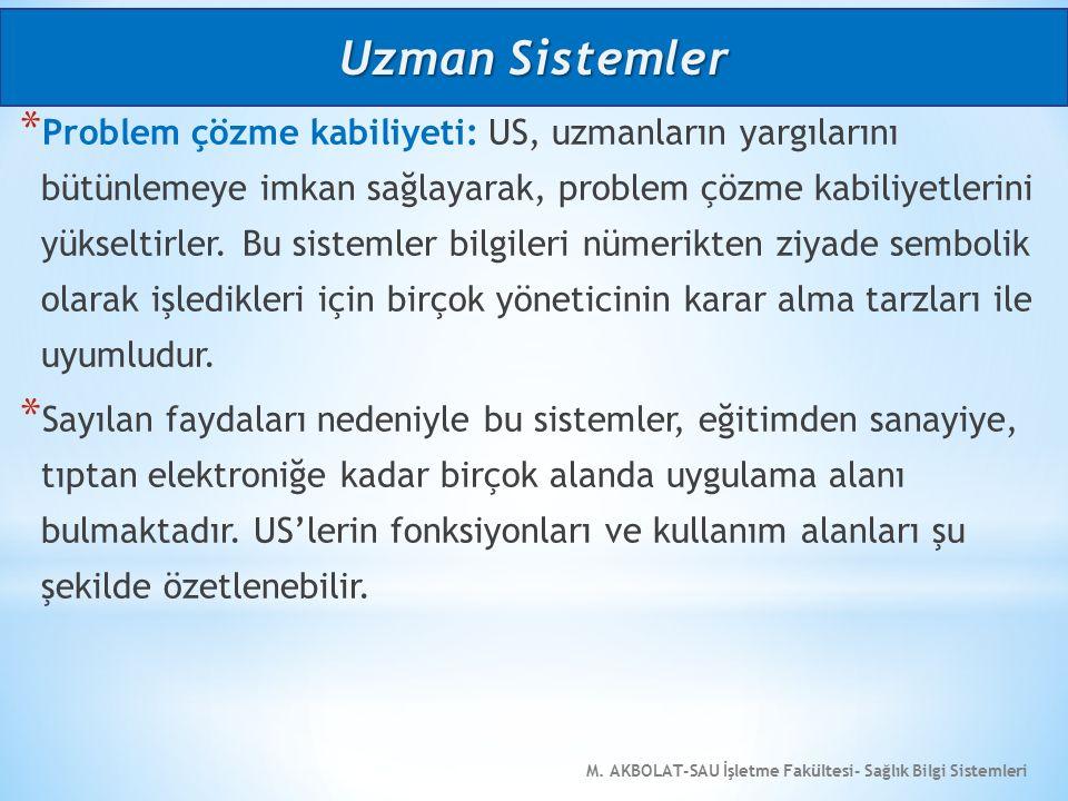 M. AKBOLAT-SAU İşletme Fakültesi- Sağlık Bilgi Sistemleri * Problem çözme kabiliyeti: US, uzmanların yargılarını bütünlemeye imkan sağlayarak, problem