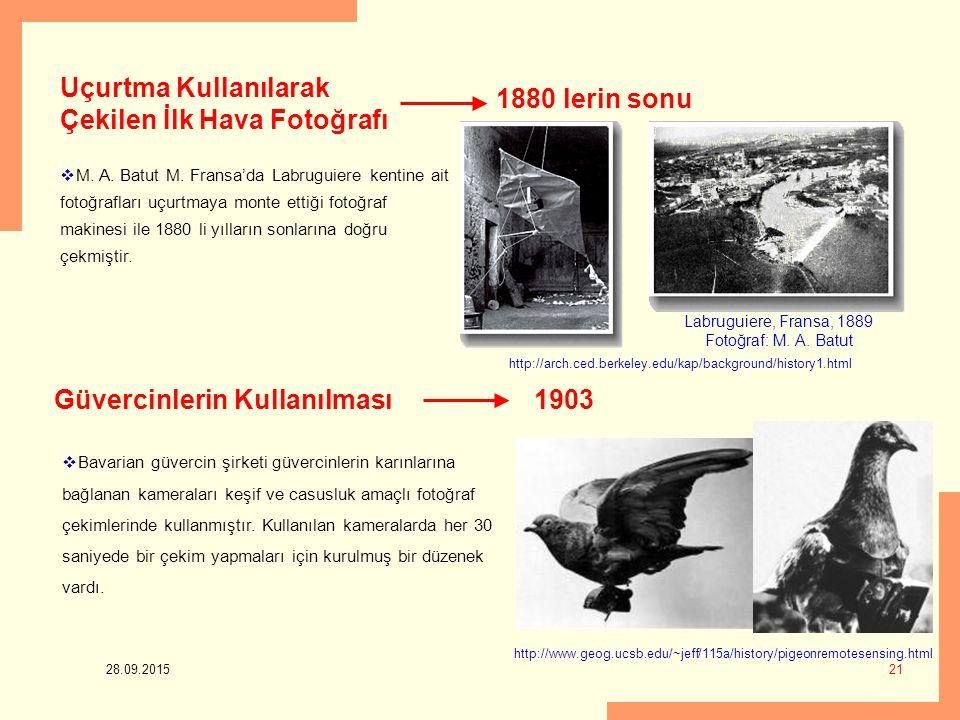 28.09.2015 21 1880 lerin sonu Uçurtma Kullanılarak Çekilen İlk Hava Fotoğrafı  M. A. Batut M. Fransa'da Labruguiere kentine ait fotoğrafları uçurtmay