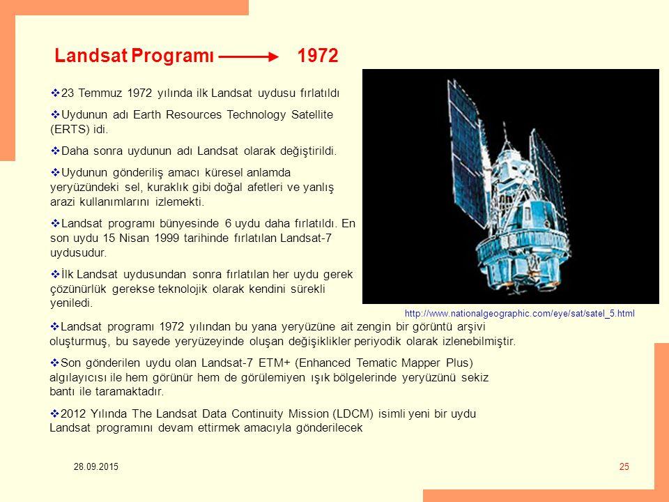 28.09.2015 25 1972  23 Temmuz 1972 yılında ilk Landsat uydusu fırlatıldı  Uydunun adı Earth Resources Technology Satellite (ERTS) idi.  Daha sonra
