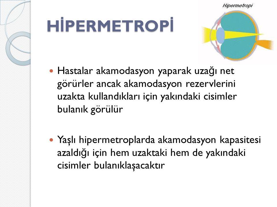 H İ PERMETROP İ Hastalar akamodasyon yaparak uza ğ ı net görürler ancak akamodasyon rezervlerini uzakta kullandıkları için yakındaki cisimler bulanık görülür Yaşlı hipermetroplarda akamodasyon kapasitesi azaldı ğ ı için hem uzaktaki hem de yakındaki cisimler bulanıklaşacaktır